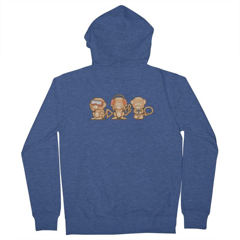 Three Modern Monkeys Men's Zip-Up Hoody by wuhuli's Artist Shop