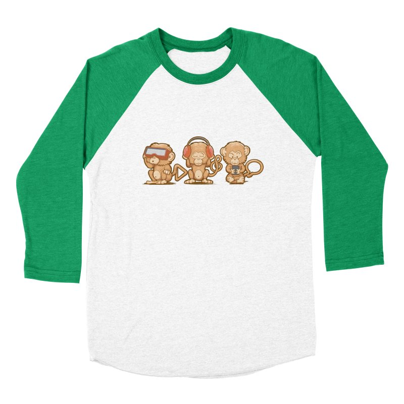 Three Modern Monkeys Men's Baseball Triblend T-Shirt by wuhuli's Artist Shop