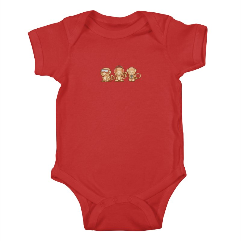 Three Modern Monkeys Kids Baby Bodysuit by wuhuli's Artist Shop