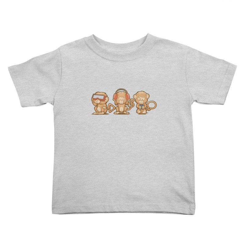 Three Modern Monkeys Kids Toddler T-Shirt by wuhuli's Artist Shop