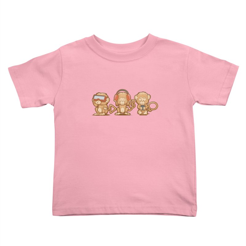 Three Modern Monkeys Kids Toddler T-Shirt by wuhuli's Artist Shop