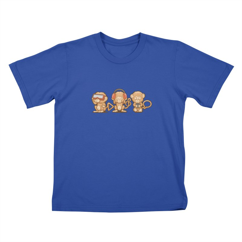 Three Modern Monkeys in Kids T-Shirt Royal Blue by wuhuli's Artist Shop