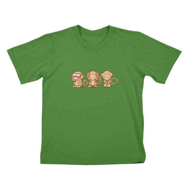 Three Modern Monkeys Kids T-shirt by wuhuli's Artist Shop