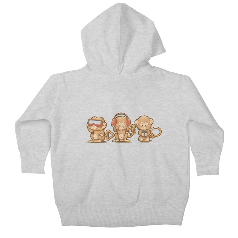 Three Modern Monkeys Kids Baby Zip-Up Hoody by wuhuli's Artist Shop