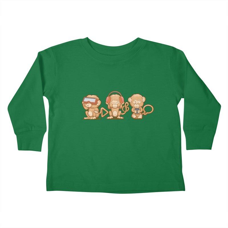 Three Modern Monkeys Kids Toddler Longsleeve T-Shirt by wuhuli's Artist Shop