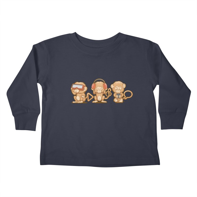 Three Modern Monkeys Kids Toddler Longsleeve T-Shirt by wuhuli's Artist Shop