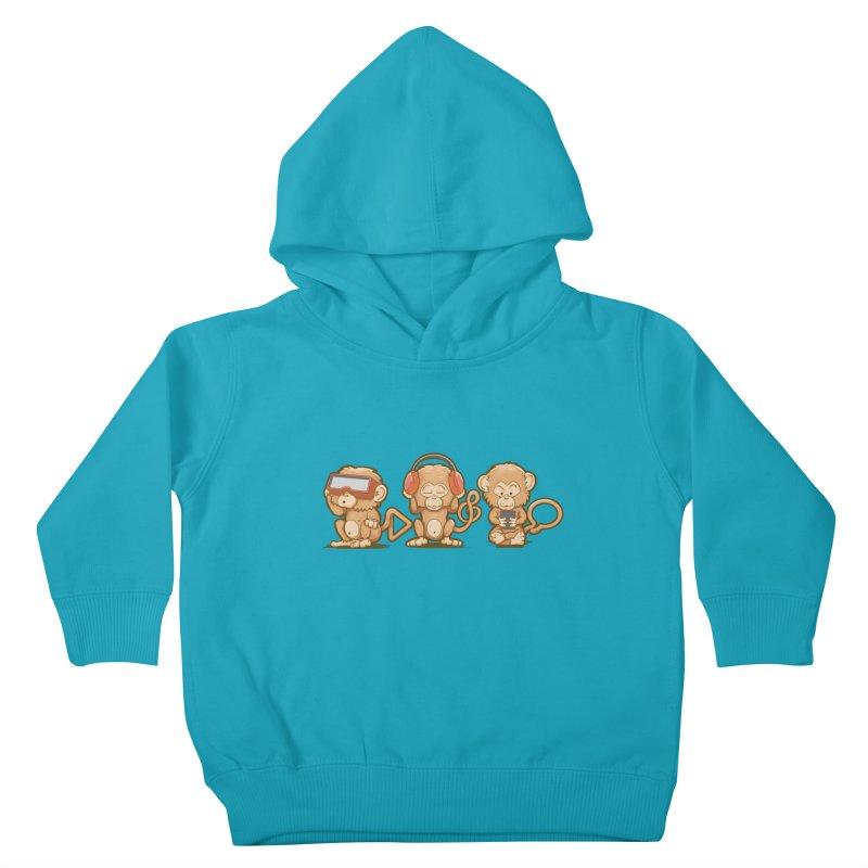 Three Modern Monkeys Kids Toddler Pullover Hoody by wuhuli's Artist Shop