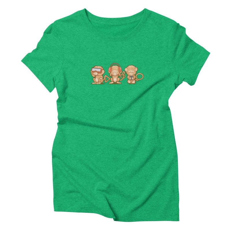 Three Modern Monkeys Women's Triblend T-Shirt by wuhuli's Artist Shop