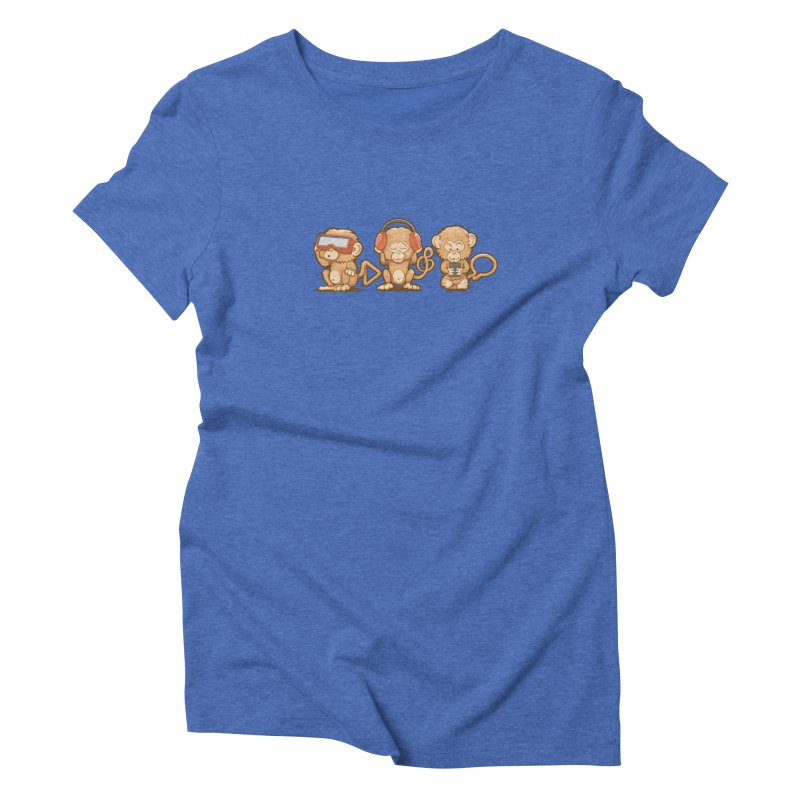 Three Modern Monkeys Women's Triblend T-shirt by wuhuli's Artist Shop