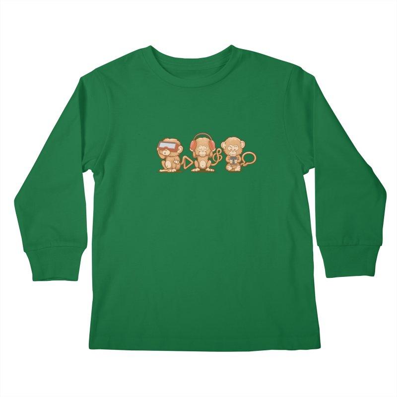 Three Modern Monkeys Kids Longsleeve T-Shirt by wuhuli's Artist Shop