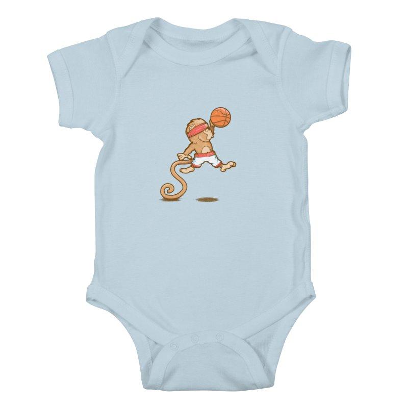 Monkey baller Kids Baby Bodysuit by wuhuli's Artist Shop