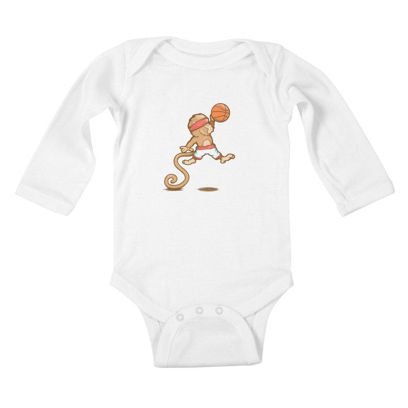 Monkey baller Kids Baby Longsleeve Bodysuit by wuhuli's Artist Shop