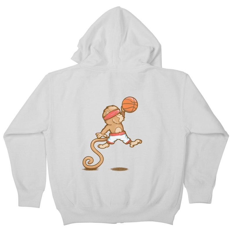 Monkey baller Kids Zip-Up Hoody by wuhuli's Artist Shop