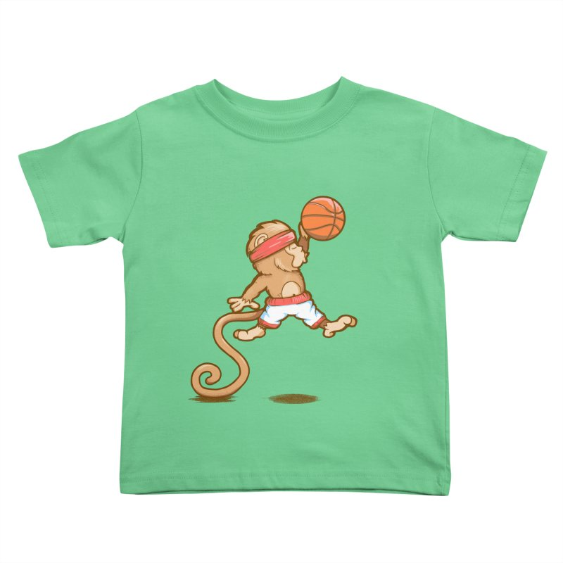 Monkey baller in Kids Toddler T-Shirt Grass by wuhuli's Artist Shop