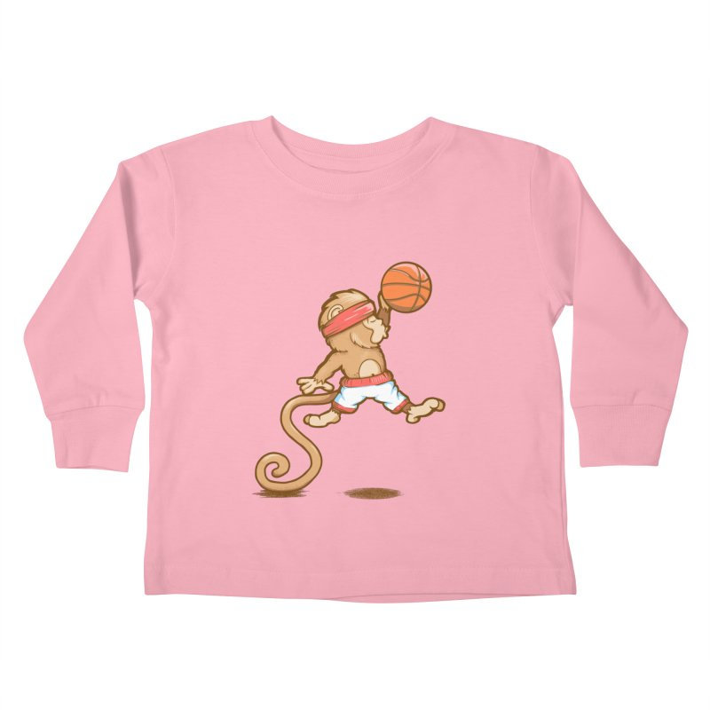 Monkey baller Kids Toddler Longsleeve T-Shirt by wuhuli's Artist Shop