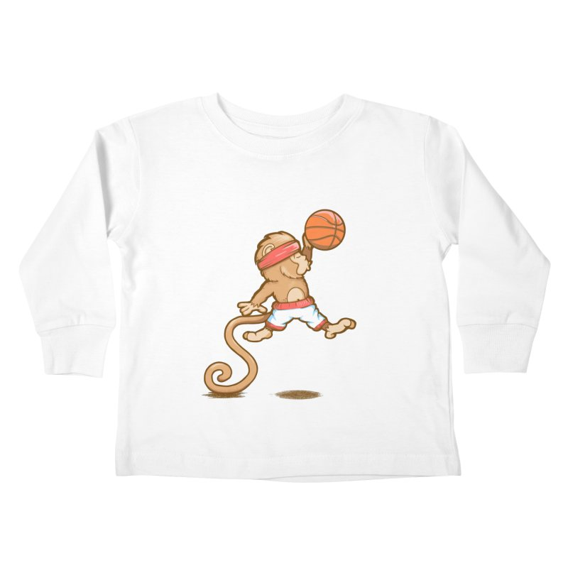 Monkey baller Kids Toddler Longsleeve T-Shirt by wuhuli's Artist Shop