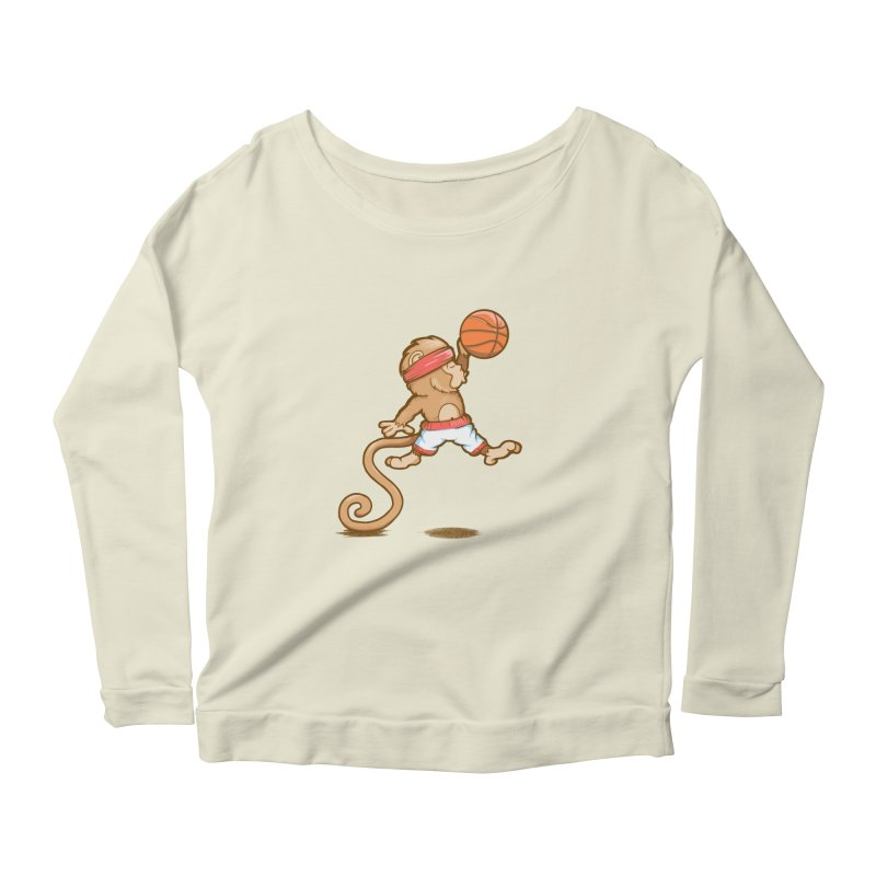 Monkey baller Women's Longsleeve Scoopneck  by wuhuli's Artist Shop