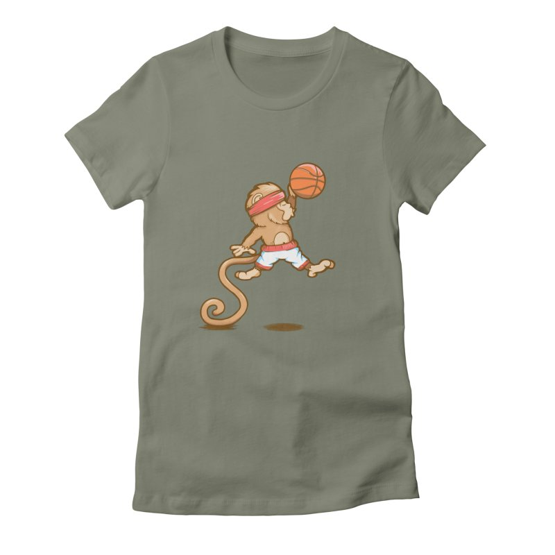 Monkey baller Women's Fitted T-Shirt by wuhuli's Artist Shop