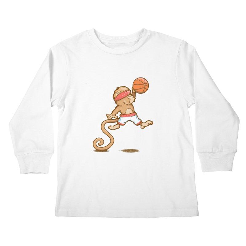 Monkey baller Kids Longsleeve T-Shirt by wuhuli's Artist Shop