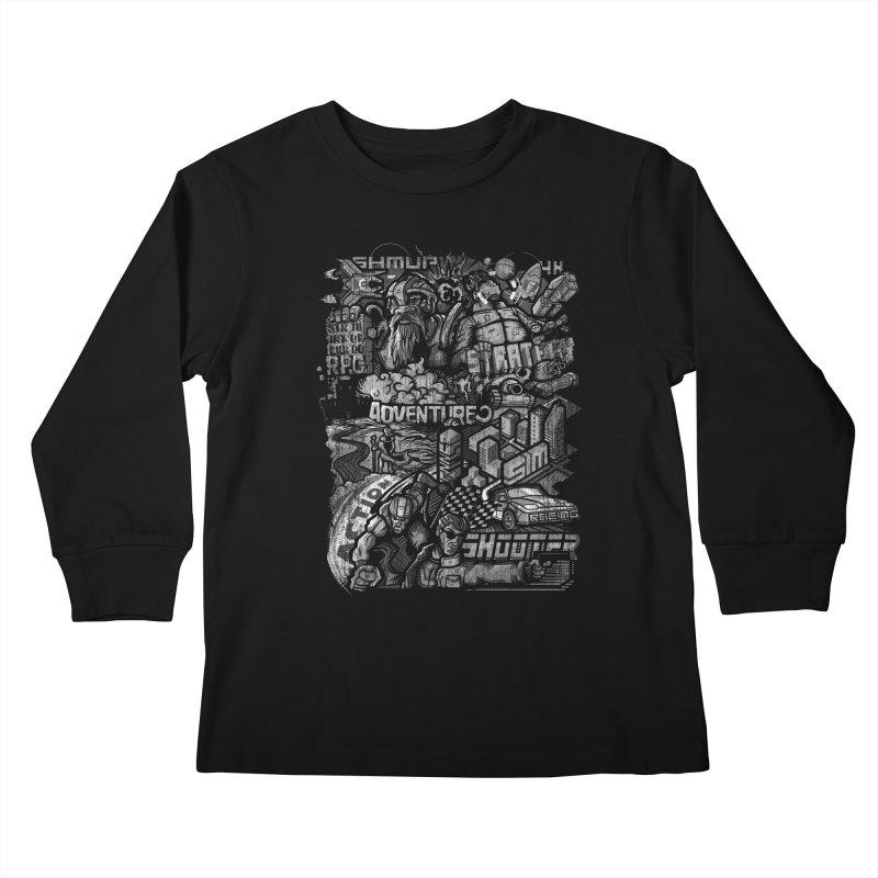 All round gamer Kids Longsleeve T-Shirt by wuhuli's Artist Shop