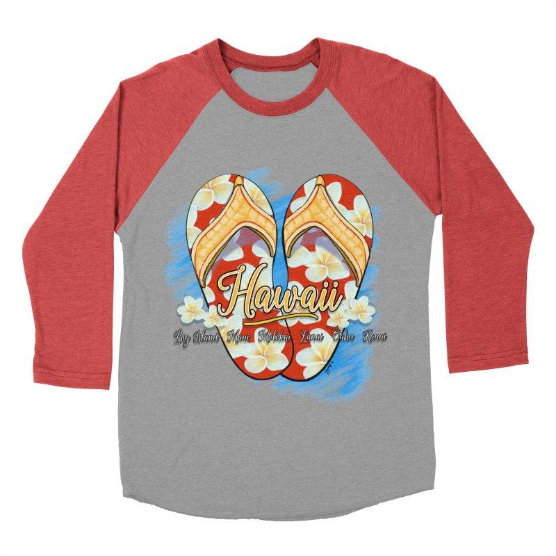 Hawaiian Style Slippers Women's Baseball Triblend Longsleeve T-Shirt by Michelle Wynn's Artist Shop