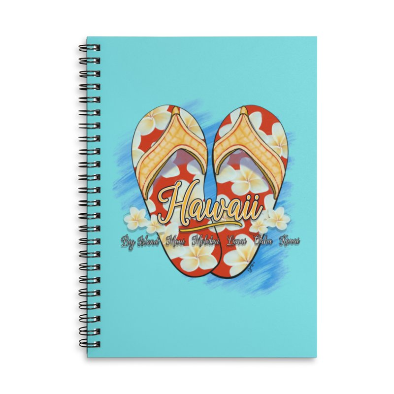 Hawaiian Style Slippers Accessories Lined Spiral Notebook by Michelle Wynn's Artist Shop