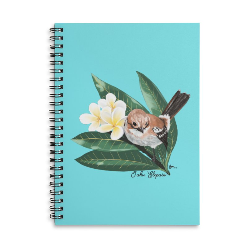 Oahu Elepaio Accessories Lined Spiral Notebook by Michelle Wynn's Artist Shop