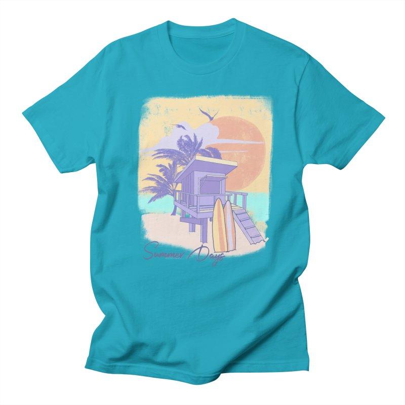 Summer Days in Men's Regular T-Shirt Cyan by Michelle Wynn's Artist Shop