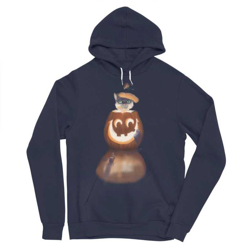 Halloween Cat In Pumpkin Men's Sponge Fleece Pullover Hoody by Michelle Wynn's Artist Shop
