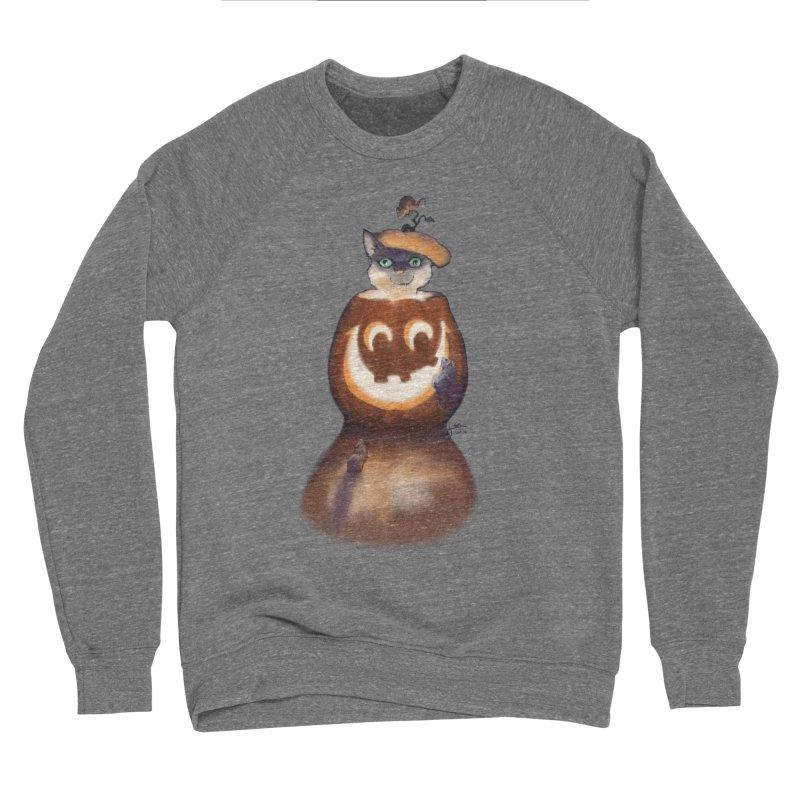 Halloween Cat In Pumpkin Women's Sponge Fleece Sweatshirt by Michelle Wynn's Artist Shop