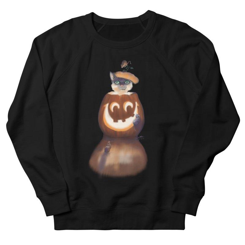 Halloween Cat In Pumpkin Men's French Terry Sweatshirt by Michelle Wynn's Artist Shop