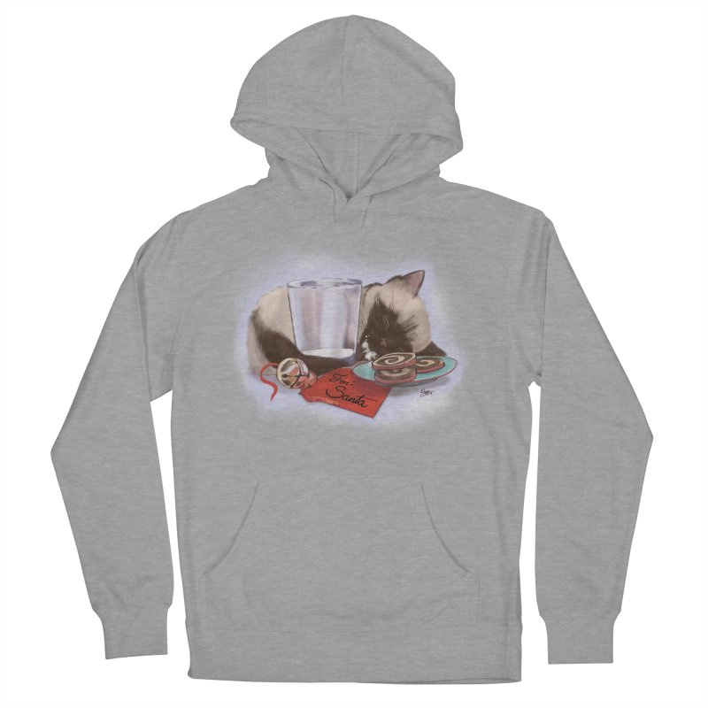 Siamese Kitty Cat Sleeping Waiting for Santa Women's French Terry Pullover Hoody by Michelle Wynn's Artist Shop