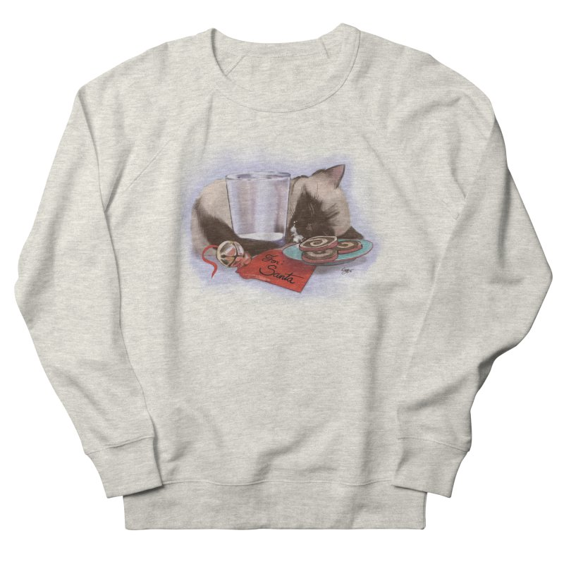 Siamese Kitty Cat Sleeping Waiting for Santa Women's French Terry Sweatshirt by Michelle Wynn's Artist Shop