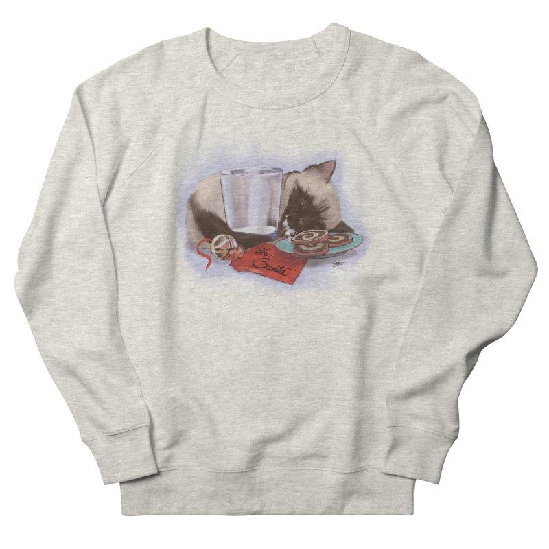 Siamese Kitty Cat Sleeping Waiting for Santa Men's French Terry Sweatshirt by Michelle Wynn's Artist Shop