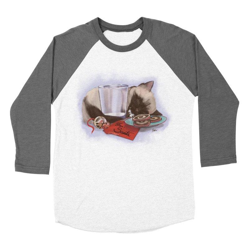Siamese Kitty Cat Sleeping Waiting for Santa Women's Baseball Triblend Longsleeve T-Shirt by Michelle Wynn's Artist Shop