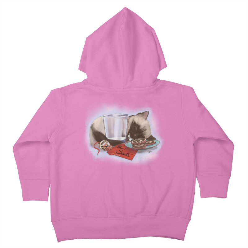 Siamese Kitty Cat Sleeping Waiting for Santa Kids Toddler Zip-Up Hoody by Michelle Wynn's Artist Shop