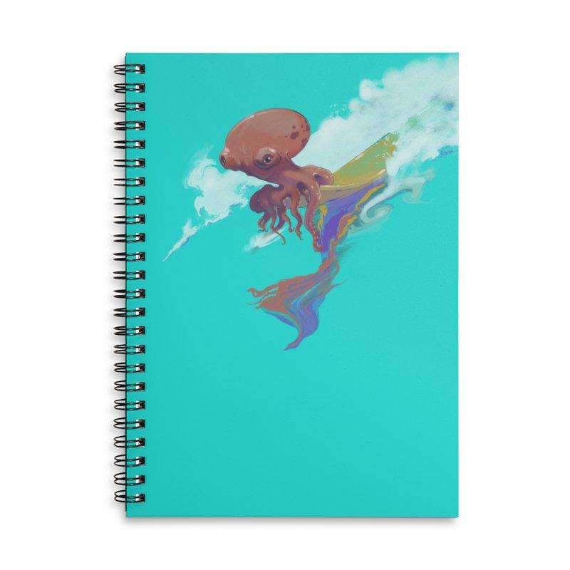 Surfing Octopus Hangin' Eight Accessories Lined Spiral Notebook by Michelle Wynn's Artist Shop
