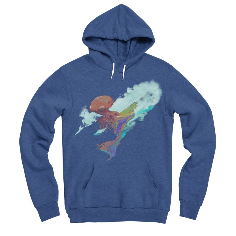 Surfing Octopus Hangin' Eight Men's Sponge Fleece Pullover Hoody by Michelle Wynn's Artist Shop