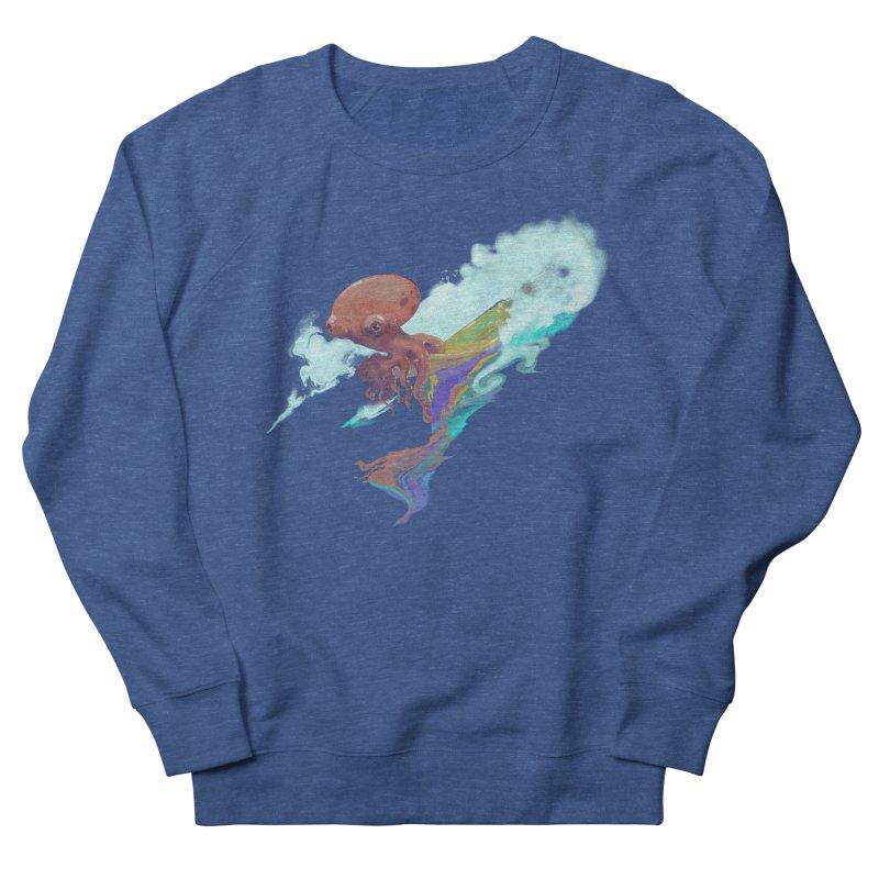Surfing Octopus Hangin' Eight Men's French Terry Sweatshirt by Michelle Wynn's Artist Shop
