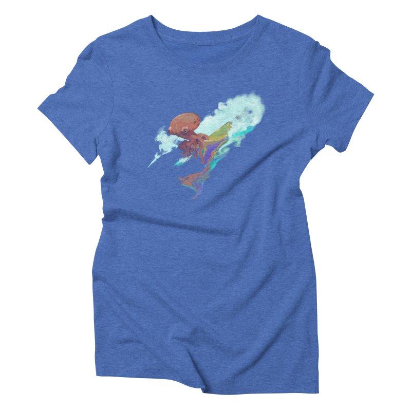 Surfing Octopus Hangin' Eight Women's Triblend T-Shirt by Michelle Wynn's Artist Shop
