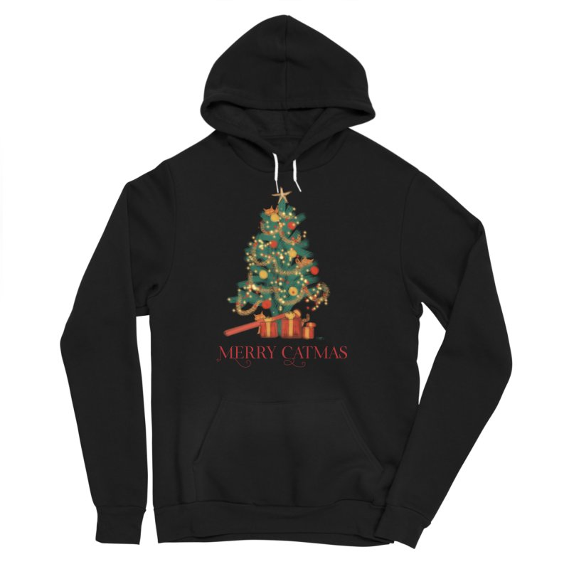 Merry Catmas Men's Sponge Fleece Pullover Hoody by Michelle Wynn's Artist Shop