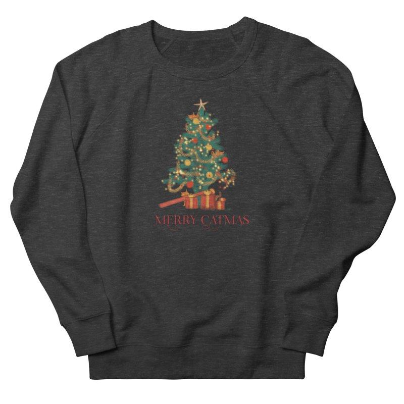 Merry Catmas Men's French Terry Sweatshirt by Michelle Wynn's Artist Shop