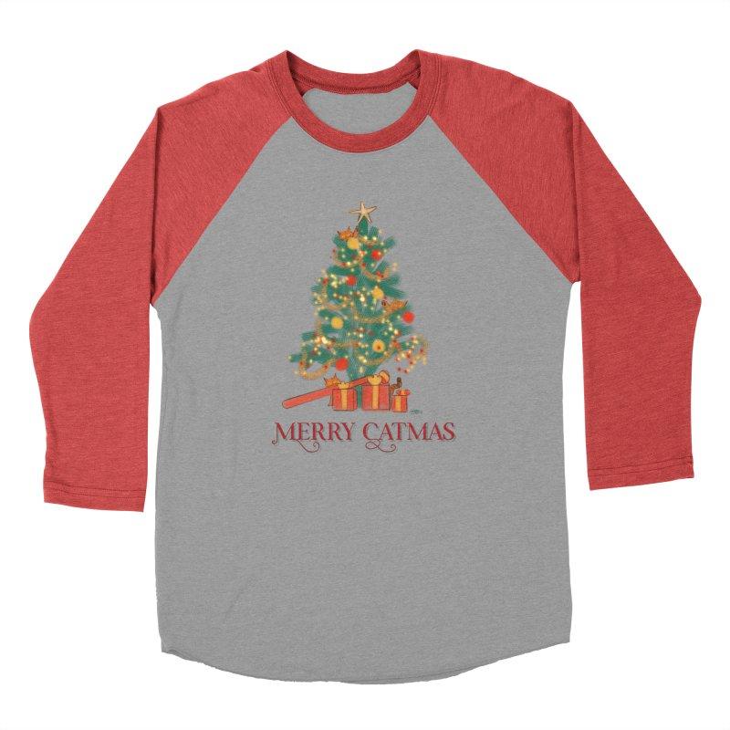 Merry Catmas Women's Baseball Triblend Longsleeve T-Shirt by Michelle Wynn's Artist Shop