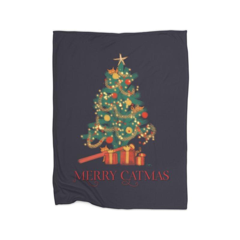 Merry Catmas Home Fleece Blanket Blanket by Michelle Wynn's Artist Shop