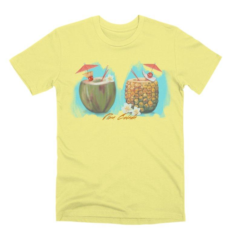 Pina Colada Tropical Drinks Men's Premium T-Shirt by Michelle Wynn's Artist Shop