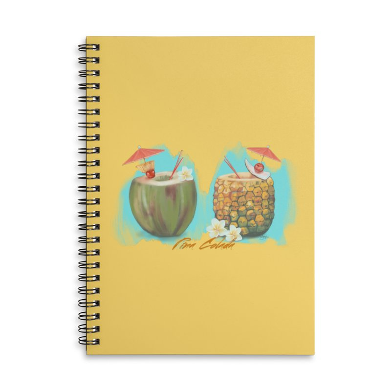 Pina Colada Tropical Drinks Accessories Lined Spiral Notebook by Michelle Wynn's Artist Shop