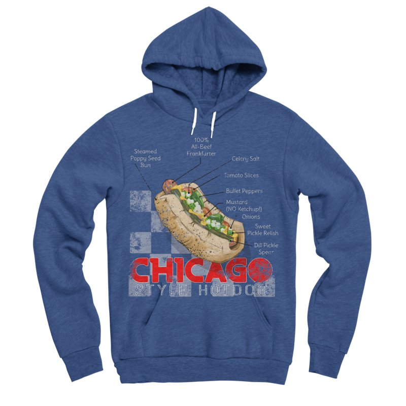 Chicago Style Hotdog Men's Sponge Fleece Pullover Hoody by Michelle Wynn's Artist Shop