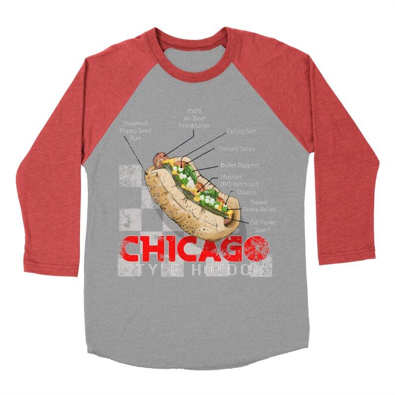 Chicago Style Hotdog Women's Baseball Triblend Longsleeve T-Shirt by Michelle Wynn's Artist Shop