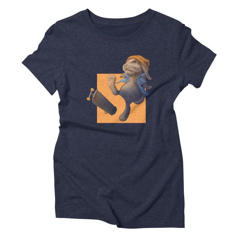 Skate Bunny Women's Triblend T-Shirt by Michelle Wynn's Artist Shop