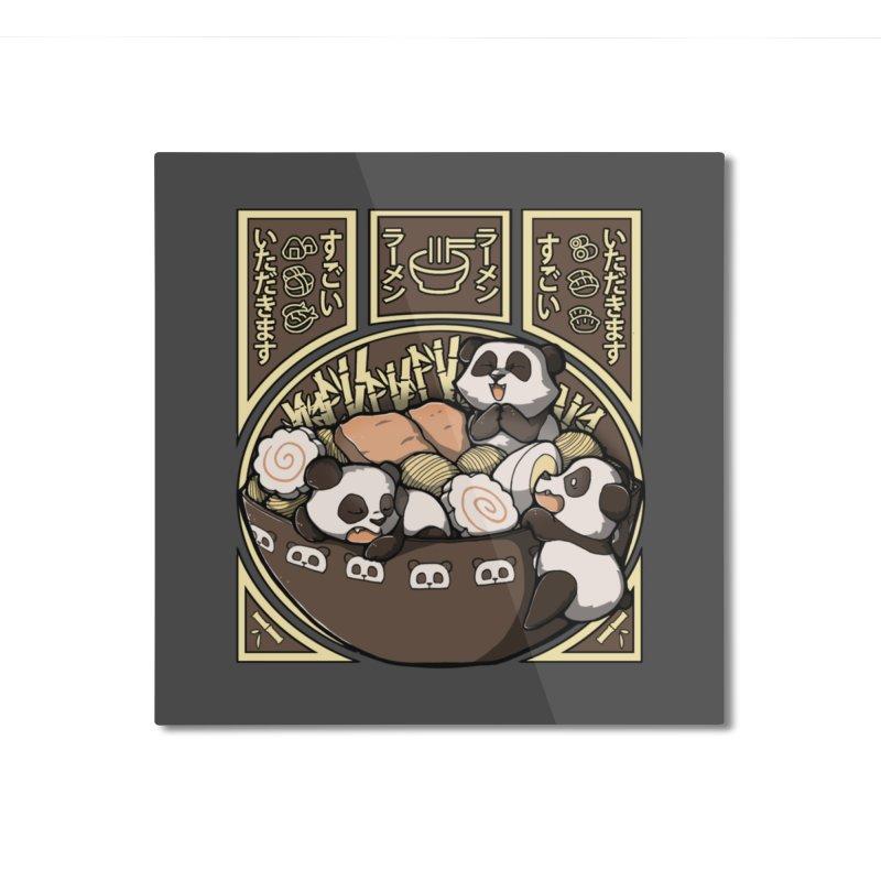 Panda Ramen Home Mounted Aluminum Print by xMorfina Design